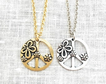 d2bbb42c5 Peace Sign Necklace, Hippie Jewelry, Peace and Love, Flower Power,  Throwback Thursday, Peace of Mind Symbol Groovy 60s 70s Jewelry, A0009