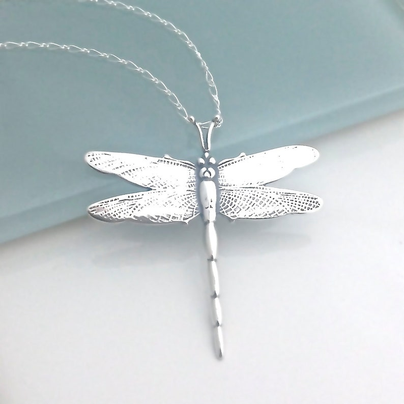 f3cdf5de9 Dragonfly Pendant Necklace Sterling Silver Dragon Fly   Etsy