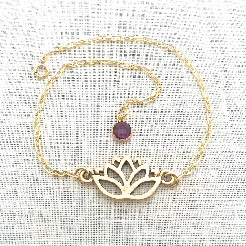 Lotus Anklet Yoga Jewelry Lotus Flower Gold Anklet for image 0