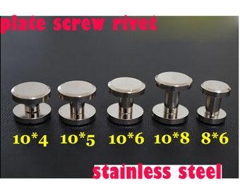50-100 PCS  8*6/10*4/10*5/10*6//10*8/mm stainless  steel  silver color  belt bag plate Chicago Screw Stud Rivet Belt Strap Fastener,  KS-510
