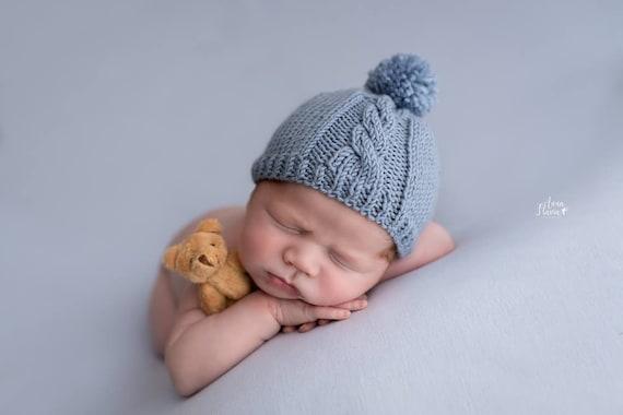 Newborn Boy Photo Prop Hat Knit Pom Pom Beanie Baby Boy Gift  c820b7e03708
