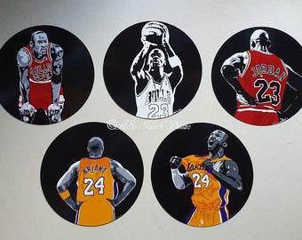 Recycled vinyl adaptable to wall clock portrait pop art painted unique deco NBA Michael Jordan Bulls 23 and Kobe Bryant Lakers 24