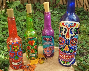 Recycled glass bottle in Mexican crane led lamp - Calavera - Dia de los muerto
