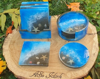 Set de 4 ou 6 sous verre + bloc de rangement - Déco en résine époxy effet mer plage vague et coquillage