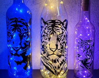 Light recycled LED bottle - Night-deconding mood light - Hand-painted single model - Tiger