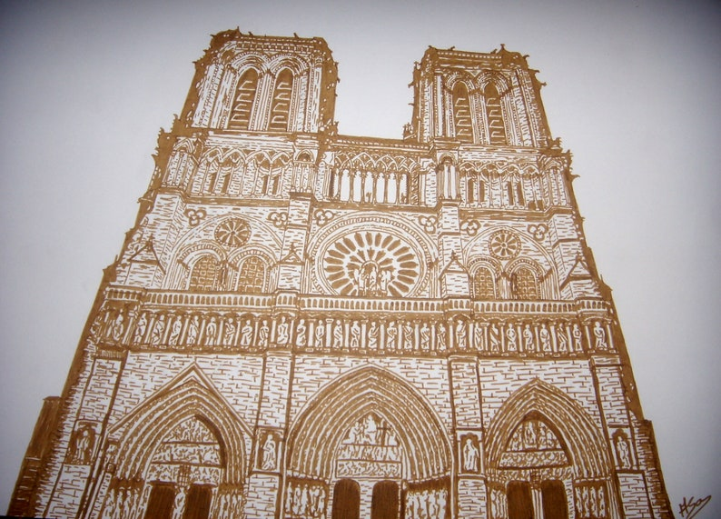 Drawing In Chinese Ink Sepia Blood Color Notre Dame De Paris Cathedral Made In 2012 Architecture Landscape