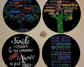 Recycled vinyl record adaptable in wall clock - Home decoration - Family text family tree of life