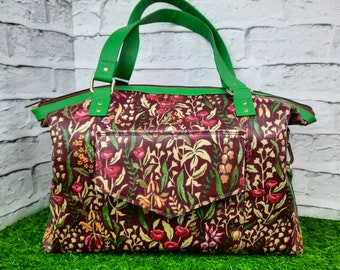 Large Shoulder Bag, Waterproof Tote in Floral Laminated Cotton with Faux Leather Trim, Brown and Green Overnight Travel Bag