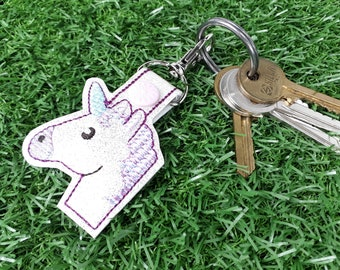 Glitter Unicorn Keychain, Unicorn Lover Purse Charm, Key Ring, Luggage Bag Tag, Party Favour, White Vinyl Snap Tab, Key Fob, Gift for Her