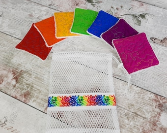 Reusable Washable Make Up Remover Pads with Matching Mesh Drawstring Storage / Wash Bag.  Limited Edition Rainbow Set, 7 Pads Plus Bag