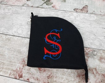 Mask or Face Covering Storage Bag, Personalised Monogram Embroidered Mask Zip Pouch with Clip, Waterproof Outer Fabric, Mask Zipper Bag