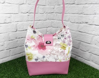 Pink Faux Leather Shoulder Bag, Pretty Pink Floral Summer Bag, Handmade Handbag, Large Shoulder Bag, Top Handle Bag, Gift for Her