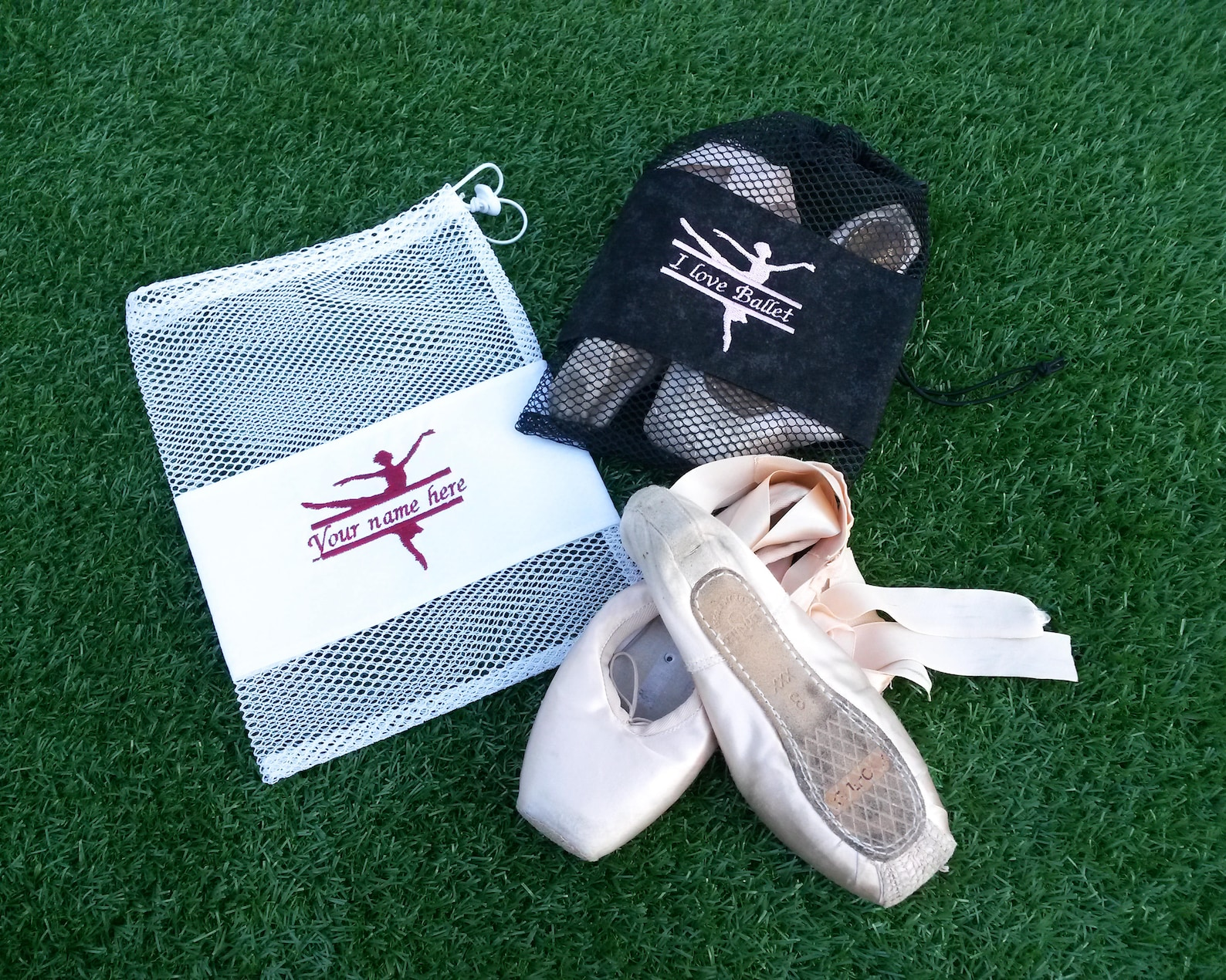 personalised ballet shoe bag, pointe shoe bag, drawstring dance bag, bright mesh bag, embroidered ballerina with name, gift for