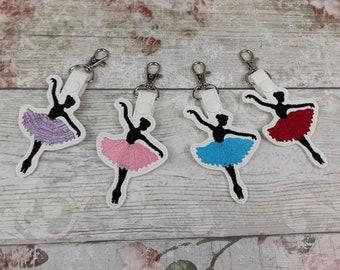 Ballet Key Ring, Dancing Ballerina in Tutu Snap Tab, Bag Charm for Dancers, Dance Gift