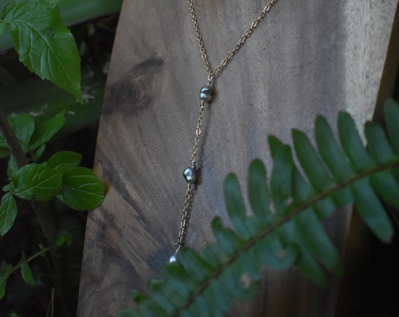 Tahitian keshi drop necklace