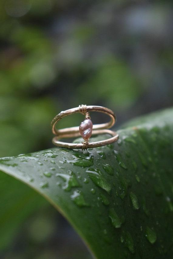 Pink keshi edison pearl ring