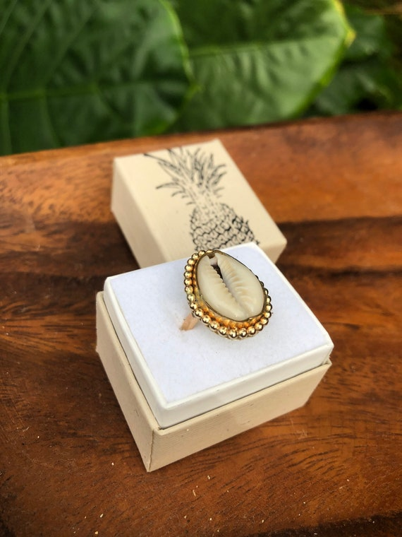 14k gold filled cowrie ring