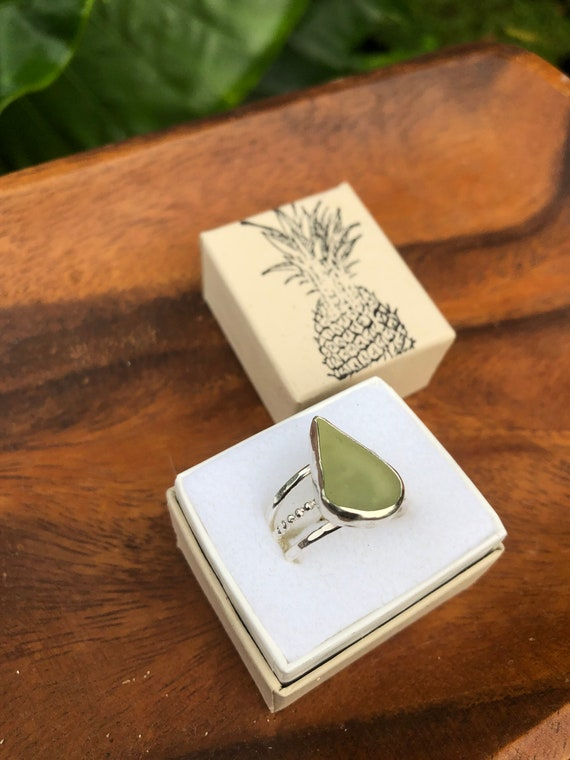 Triple banded Kauai sea glass ring