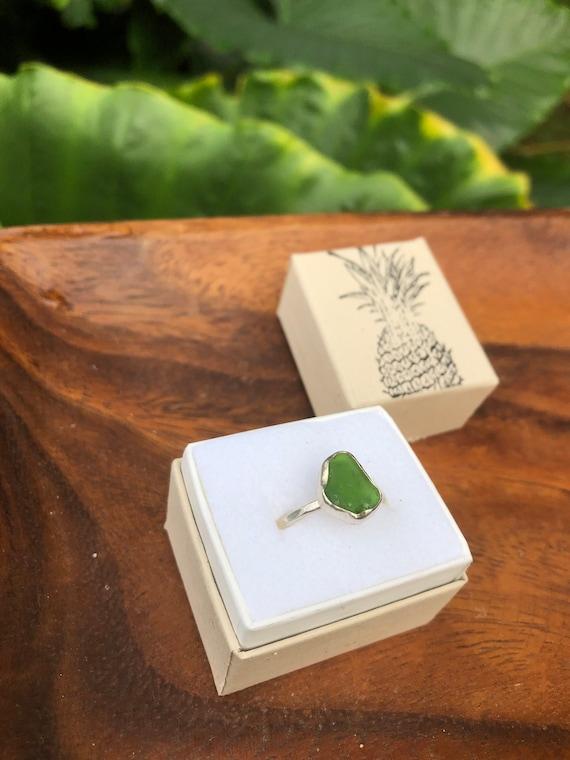 Green Kauai sea glass ring