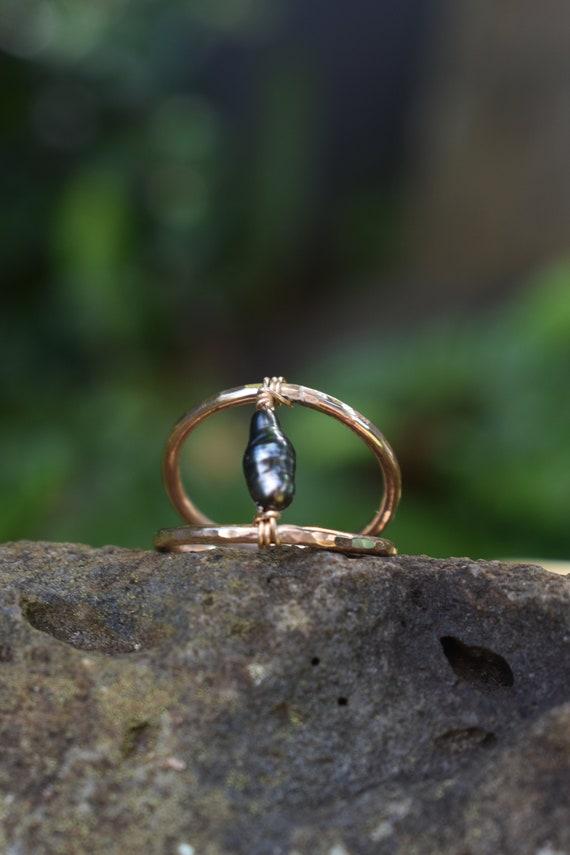 Tahitian Keshi Ring