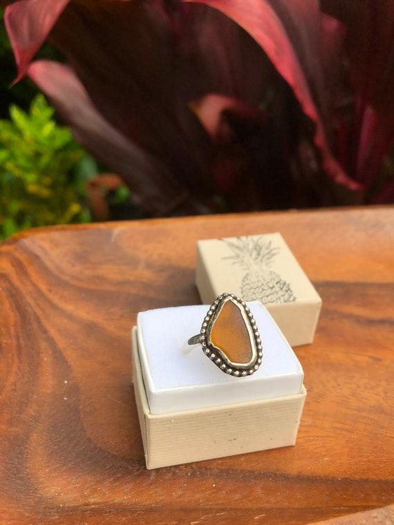 Sterling silver Kauai sea glass ring