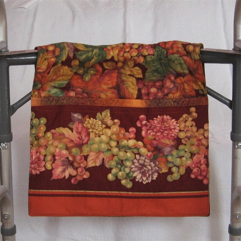 Grape Design on Burgundy Quilted Walker  Rollator Saddlebag
