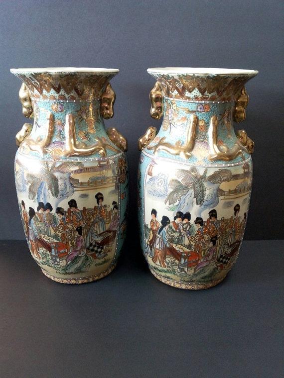 Two Large Antique Japanese Satsuma Vases Etsy