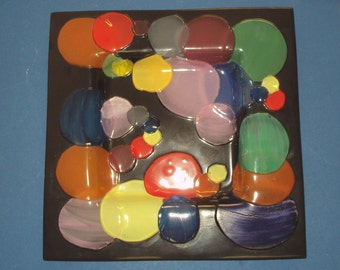 Art Glass Dish, Tray Black with discs of colored glass 1970's