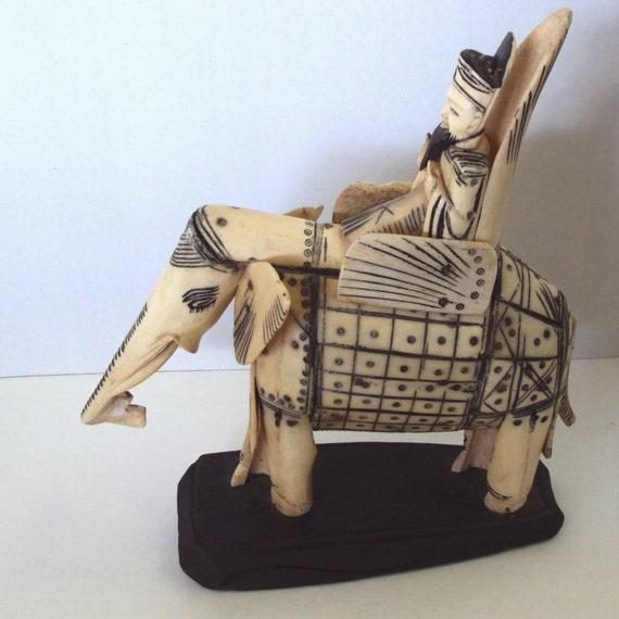 Chinese Bone Carving Elephant And Rider Vintage Etsy