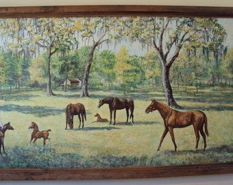 Florida Painting Horse Farm Acrylic on board 87 by 37 inches