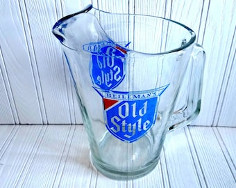 Vintage Heilemans Old Style Beer Pitcher Collectible Glass Old Style Barware Bar Ware Gifts for Him Fathers Day Breweriana Collection