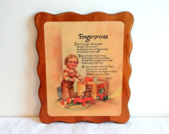 Vintage Fingerprints Poem Decoupaged on Wood 1970s, Wendy Lyn Wall Hanging, Home Bedroom Decor, Nursery, Baby Shower Gift