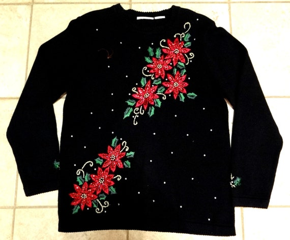 Vintage Christmas Sweaters.Vintage Christmas Sweater With Sequined And Beaded Poinsettias Size S M Womens Holiday Fashion Tacky Ugly Xmas Sweater Office Party Wear