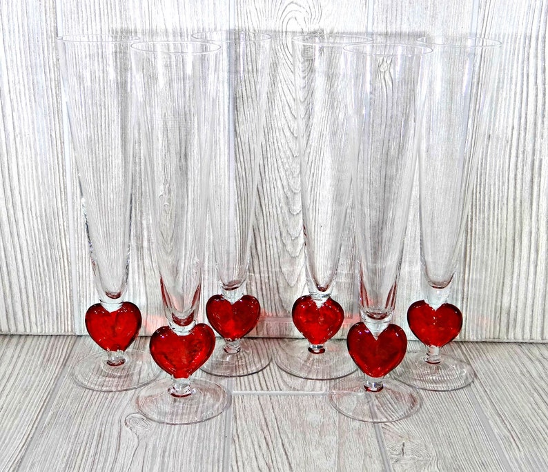 783e30b937c7 Vintage Crystal Champagne Flutes with Red Hearts Valentines