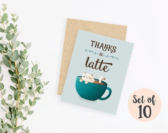 "Set of 10 ""Thanks a Latte"" cozy cat thank you cards / blank inside / kraft envelopes"