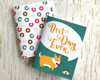 "Set of 2 mini pocket notebooks // ""Best Day Ever"" Corgi + Donuts // 40 lined pages"