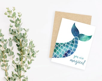 You are magical // small greeting card, blank inside // mermaid tail with glitter // kraft envelope // Mother's Day