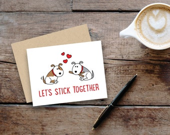 "Let's stick together""// dogs // small greeting card, blank inside // kraft envelope"