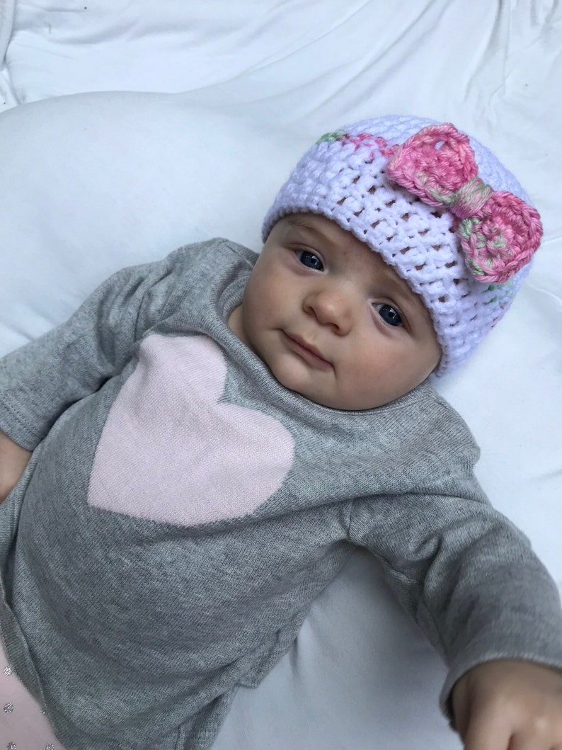 463d1bc6a9b Crocheted Baby Beanie Baby Girl Hat White Hat for Baby Hat