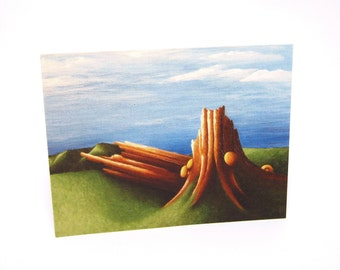 Tree Stump in the Meadow Note Cards