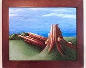 Tree Stump: Original Framed Acrylic Painting
