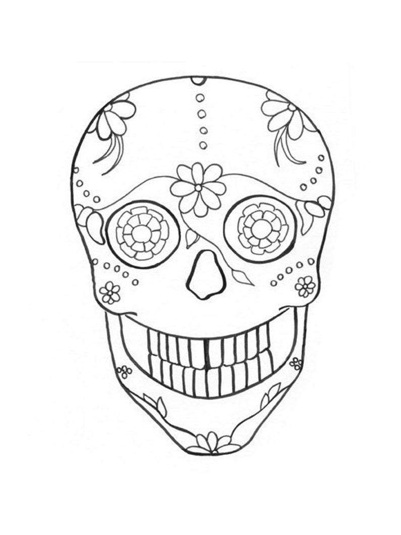 sugar skull coloring page image 1