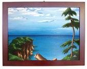 Cliff: Original Framed Acrylic Painting