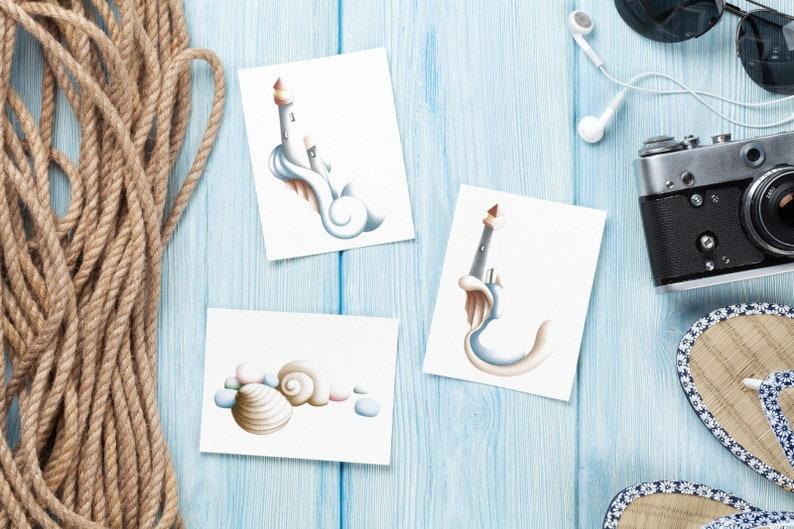 Sea Shells & Beach Glass Illustrated Card image 0