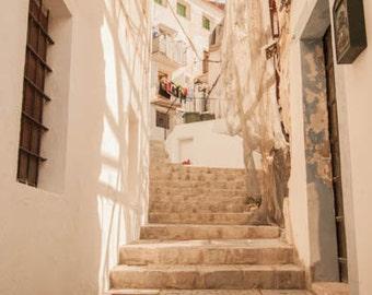 Spain Photograph, Castle of Ibiza Staircase Photograph, European Photography, Ibiza