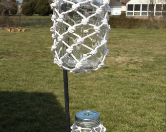 A Pair of Mason Jar Lanterns with Decorative Lid