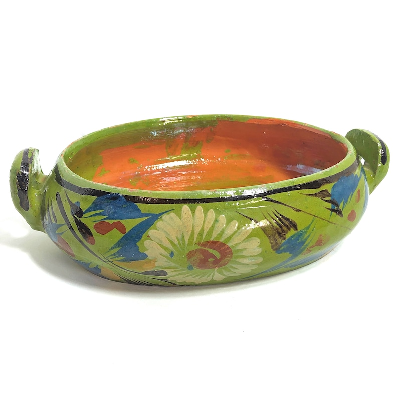 Vintage Mexican Tlaquepaque Hand Painted Green Pottery Casserole Dish