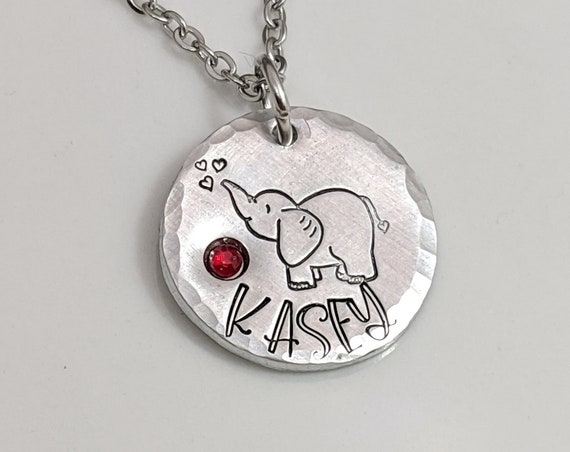 Personalized Elephant Necklace - Hand Stamped Elephant Jewelry - Friendship Gift - Name Jewelry