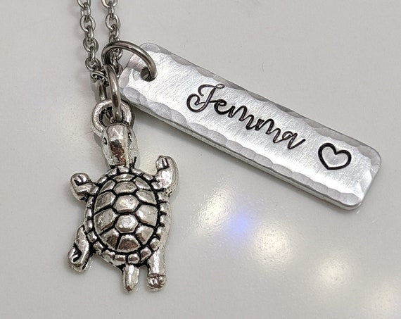 Turtle Necklace - Name Jewelry - Personalized - Sea Turtle Charm - Birthday Gift - Gift for Girl - Gift for Her - Customized Beach Jewelry