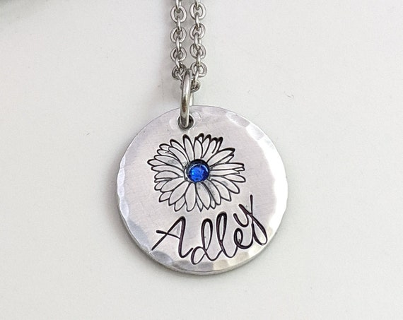 Hand Stamped Name Necklace - Daisy Flower - Custom Name Necklace - Personalized Jewelry - Your Name Jewelry - Gift for Her - Birthday Gift